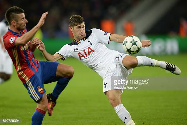 Zoran Tosic of PFC CSKA Moscow in action against Ben Davies of Tottenham Hotspurs during the UEFA Europa League group E soccer match between PFC CSKA...