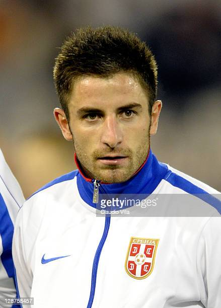 Zoran Tosic of Serbia during the EURO 2012 Qualifier match between Serbia and Italy at Stadion Crvena Zvezda on October 7 2011 in Belgrade Serbia
