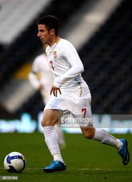 Zoran Tosic of Serbia during the International Friendly match between South Korea and Serbia at Craven Cottage on November 18 2009 in London England