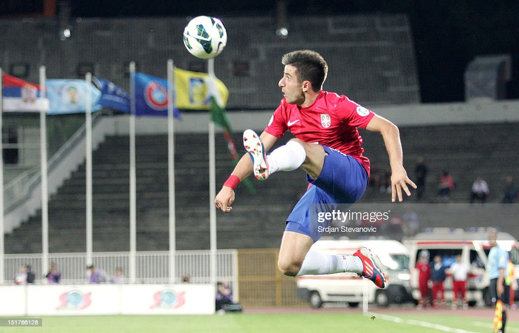 Zoran Tosic of Serbia in action during the FIFA 2014 World Cup Qualifier at stadium Karadjordje Park between Serbia and Wales on September 11, 2012 in Novi Sad, Serbia