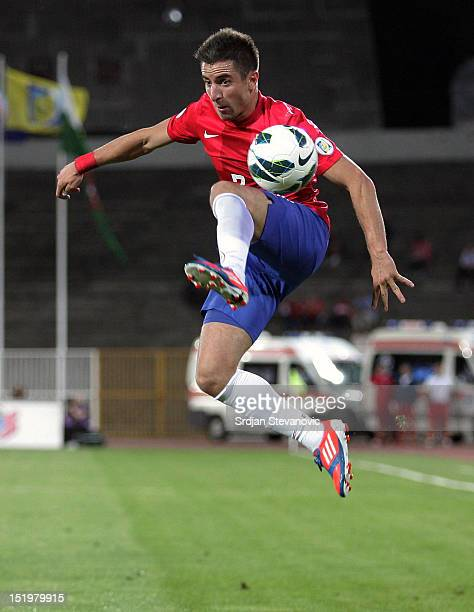 Zoran Tosic of Serbia in action during the FIFA 2014 World Cup Qualifier at stadium Karadjordje Park between Serbia and Wales on September 11 2012 in...