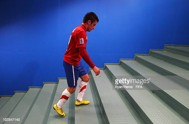 Zoran Tosic of Serbia walks back to the dressing room dejected after the 2010 FIFA World Cup South Africa Group D match between Australia and Serbia...