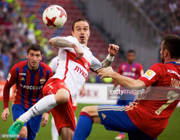 Zoran Tosic PFC CSKA Moscow Russian vies for the ball with ndrey Yeshchenko of FC Spartak Moscow during the Russian Premier League match between PFC...