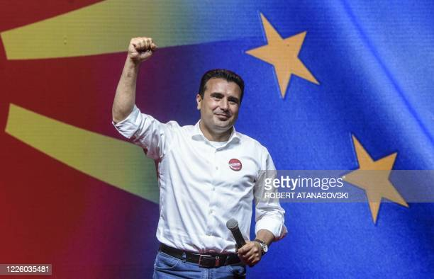 Zoran Zaev leader of the ruling SDSM party gestures as he greets supporters during an election campaign rally in Skopje on July 10 2020 North...
