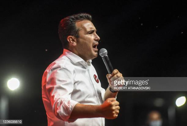 Zoran Zaev leader of the ruling SDSM party gives a speech during an election campaign rally in Skopje on July 10 2020 North Macedonia's main...