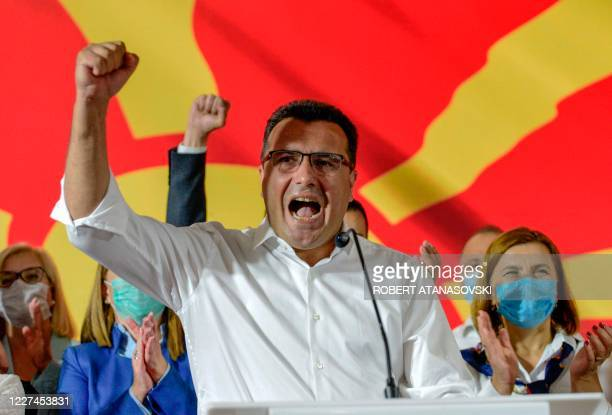 Zoran Zaev, leader of the ruling SDSM party, speaks as he celebrates victory during general elections in Skopje early on July 16, 2020. - North...