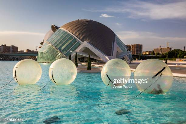 Zorbing Ball in City of Arts and Sciences, Valencia, Spain