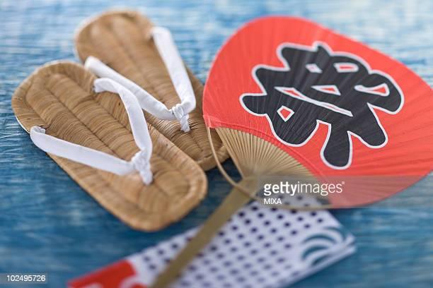 zori, tenugui and fan - 手ぬぐい ストックフォトと画像