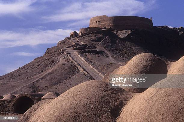 A Zoroastrian Tower of Silence near Yazd Iran traditionally used for the ritual exposure of the dead to the sun and birds of prey 25th March 1995...