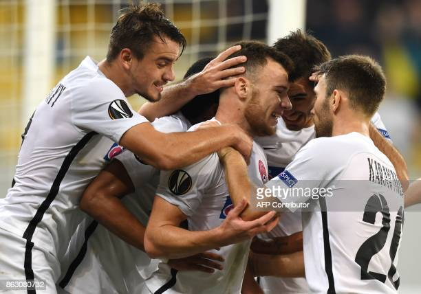 FC Zorya Luhansk's players celebrate after scoring during the UEFA Europa League Group J football match FC Zorya Luhansk and Hertha BSC Berlin at the...