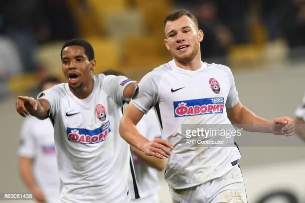 FC Zorya Luhansk's Silas Araujo da Silva celebrates after scoring during the UEFA Europa League Group J football match FC Zorya Luhansk and Hertha...