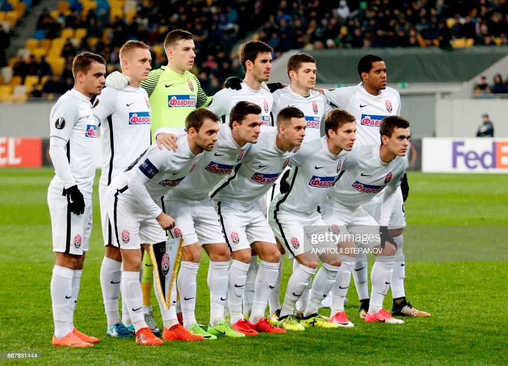 Zorya's players pose ahead of the UEFA Europa League Group J football match between Zorya Luhansk and Athletic Bilbao in Lviv on December 7, 2017. /