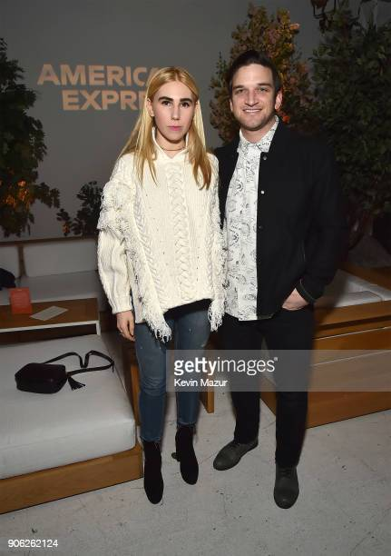 Zosia Mamet and Evan Jonigkeit attend American Express x Justin Timberlake Man Of The Woods listening session at Skylight Clarkson Sq on January 16...
