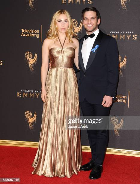Zosia Mamet and Evan Jonigkeit attend the 2017 Creative Arts Emmy Awards at Microsoft Theater on September 9 2017 in Los Angeles California