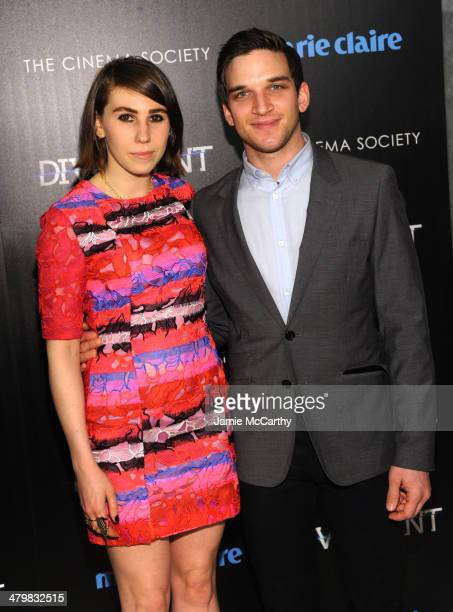 Zosia Mamet and Evan Jonigkeit attend the Marie Claire The Cinema Society screening of Summit Entertainment's Divergent at Hearst Tower on March 20...
