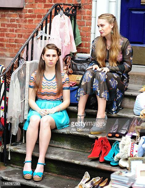 "Zosia Mamet and Jemima Kirke are seen on the set of ""Girls"" on the Streets of Manhattan on May 25, 2012 in New York City."