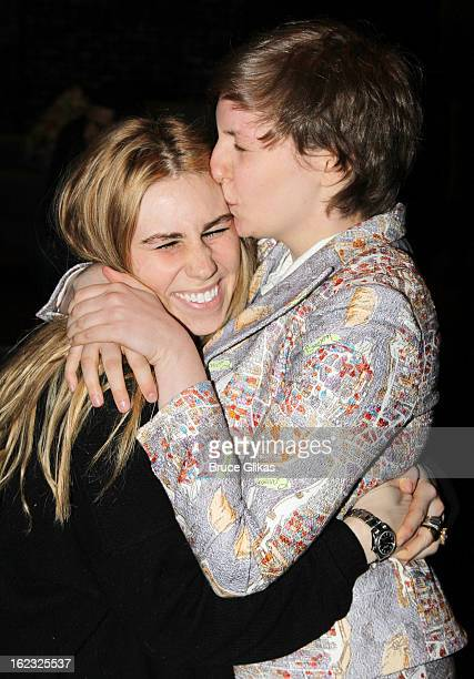 Zosia Mamet and Lena Dunham pose backstage at the play REALLY REALLY OffBroadway at The Lucille Lortel Theater on February 21 2013 in New York City