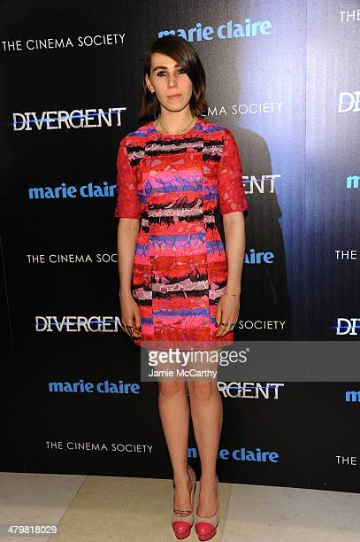 Zosia Mamet attends the Marie Claire The Cinema Society screening of Summit Entertainment's Divergent at Hearst Tower on March 20 2014 in New York...