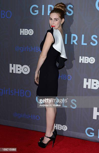 Zosia Mamet attends the premiere of 'Girls' season 2 hosted by HBO at NYU Skirball Center on January 9 2013 in New York City