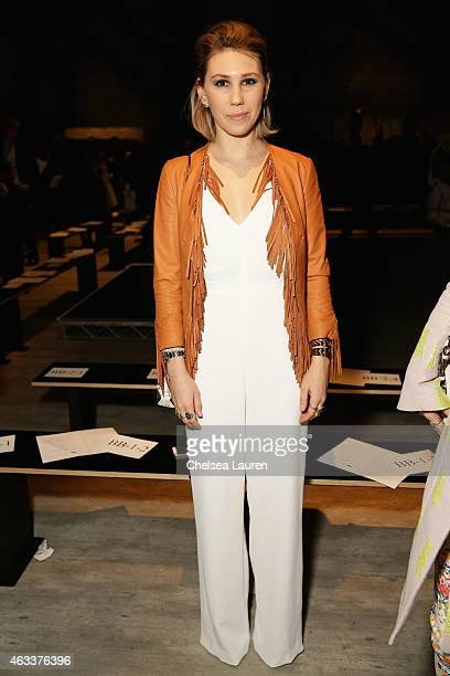Zosia Mamet attends the Rebecca Minkoff fashion show during MercedesBenz Fashion Week Fall 2015 at The Pavilion at Lincoln Center on February 13 2015...