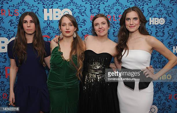 Zosia Mamet Jemima Kirke producer Lena Dunham and Allison Williams attend the HBO with the Cinema Society host the New York premiere of HBO's 'Girls'...