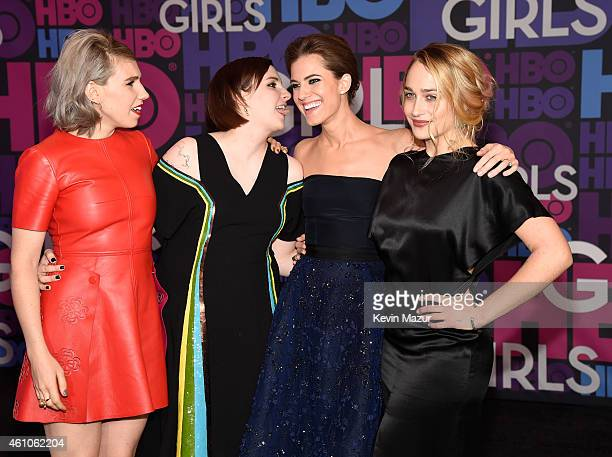 Zosia Mamet Lena Dunham Allison Williams and Jemima Kirke attend the Girls season four premiere at American Museum of Natural History on January 5...
