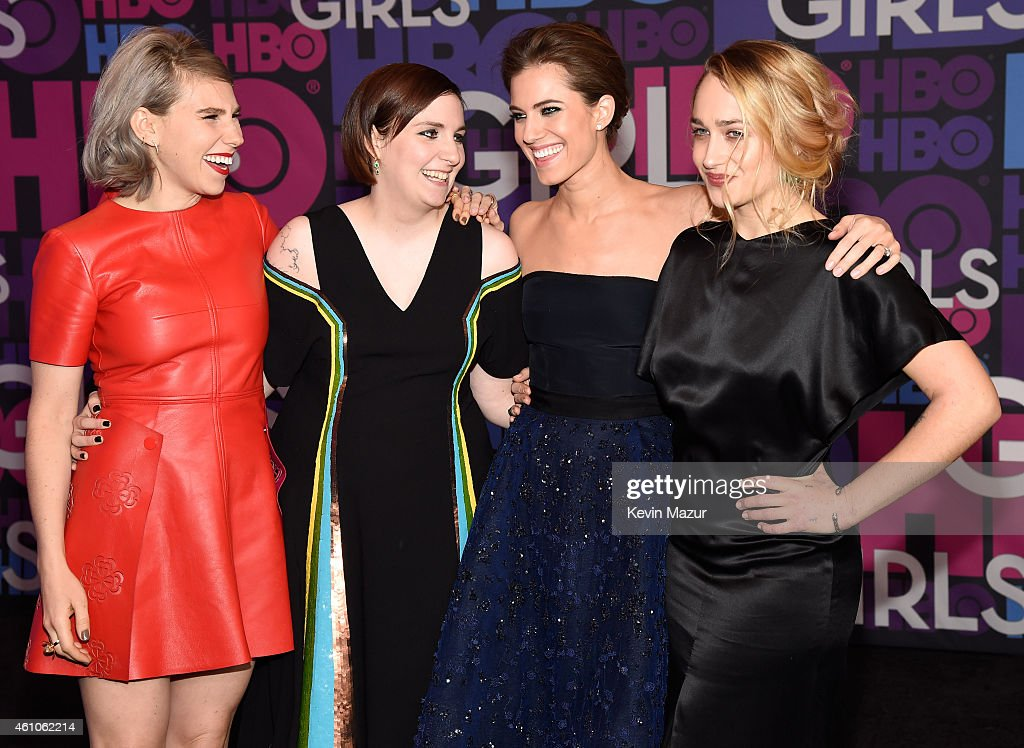 Zosia Mamet, Lena Dunham, Allison Williams and Jemima Kirke attend the 'Girls' season four premiere at American Museum of Natural History on January 5, 2015 in New York City.