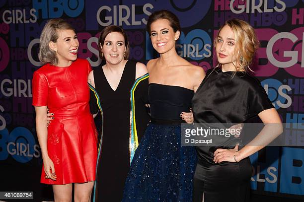 Zosia Mamet Lena Dunham Allison Williams and Jemima Kirke attend the 'Girls' Season Four Premiere at the American Museum of Natural History on...