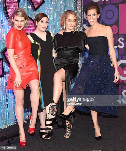 Zosia Mamet Lena Dunham Jemima Kirke and Allison Williams attend the Girls season four premiere at American Museum of Natural History on January 5...