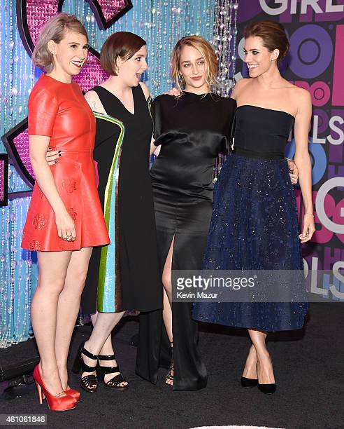 Zosia Mamet Lena Dunham Jemima Kirke and Allison Williams attend the 'Girls' season four premiere at American Museum of Natural History on January 5...