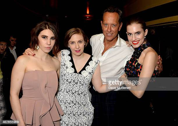 Zosia Mamet Lena Dunham Richard E Grant and Allison Williams attend an after party following the UK premiere of Girls Season 3 at Cafe de Paris on...