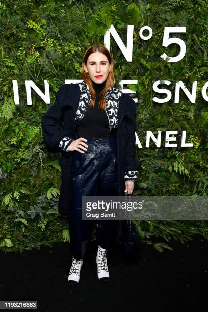 Zosia Mamet, wearing CHANEL, attends the CHANEL party to celebrate the debut of CHANEL N5 In The Snow at The Standard High Line on December 10, 2019...