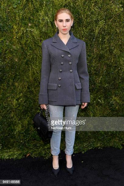 Zosia Mamet wore a navy and grey wool drill jacket, look 14, from the Metiers d'Art Paris-Hamburg 2017/18 Collection at the CHANEL Tribeca Film...