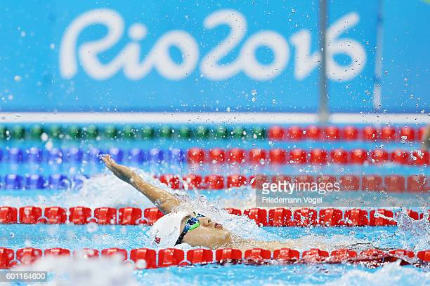Zou Liankang of China competes in the Men's 100m Backstroke S2 Final on day 2 of the Rio 2016 Paralympic Games at the Olympic Aquatics Stadium on...