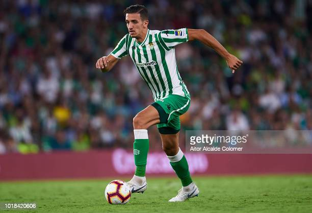 Zouhair Feddal of Real Betis Balompie in action during the La Liga match between Real Betis Balompie and Levante UD at Estadio Benito Villamarin on...