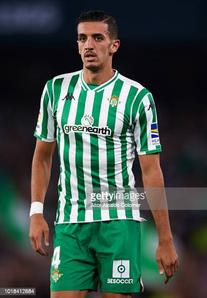 Zouhair Feddal of Real Betis Balompie looks on during the La Liga match between Real Betis Balompie and Levante UD at Estadio Benito Villamarin on...
