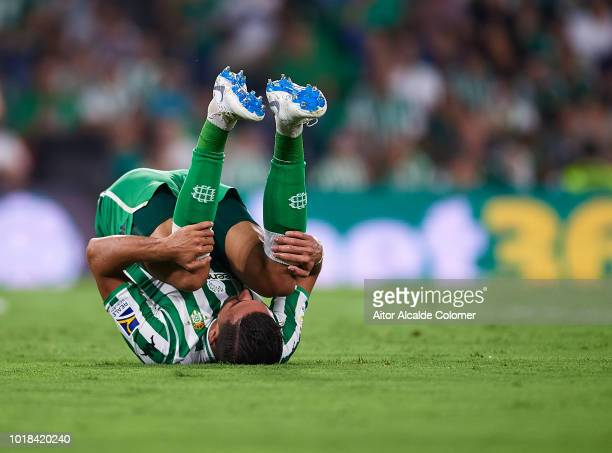 Zouhair Feddal of Real Betis Balompie reacts during the La Liga match between Real Betis Balompie and Levante UD at Estadio Benito Villamarin on...