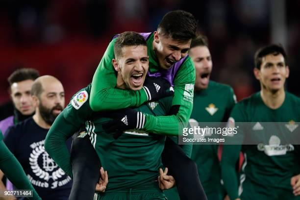 Zouhair Feddal of Real Betis celebrates the victory during the La Liga Santander match between Sevilla v Real Betis Sevilla at the Estadio Ramon...