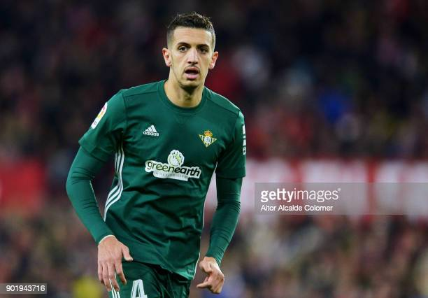 Zouhair Feddal of Real Betis reacts during the La Liga match between Sevilla FC and Real Betis Balompie at Estadio Ramon Sanchez Pizjuan on January 6...
