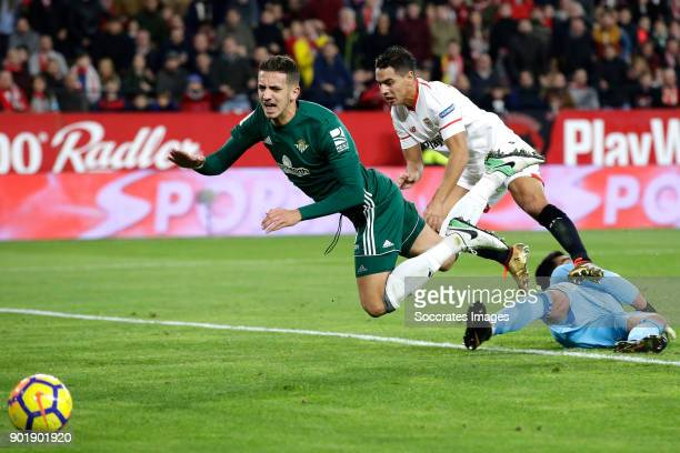 Zouhair Feddal of Real Betis Wissam Ben Yedder of Sevilla FC Antonio Adan of Real Betis during the La Liga Santander match between Sevilla v Real...