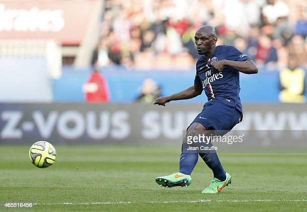 Zoumana Camara of PSG in action during the French Ligue 1 match between Paris SaintGermain FC and RC Lens at Parc des Princes stadium on March 7 2015...