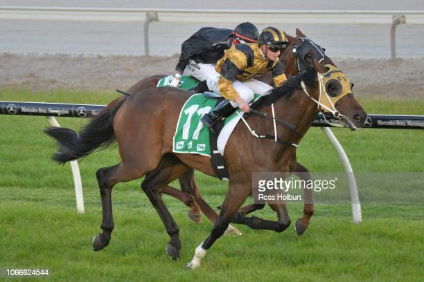 Zouy's Comet ridden by Jessica Payne wins the Victorian OnCourse Bookmakers Maiden Plate at Cranbourne Racecourse on November 30 2018 in Cranbourne...