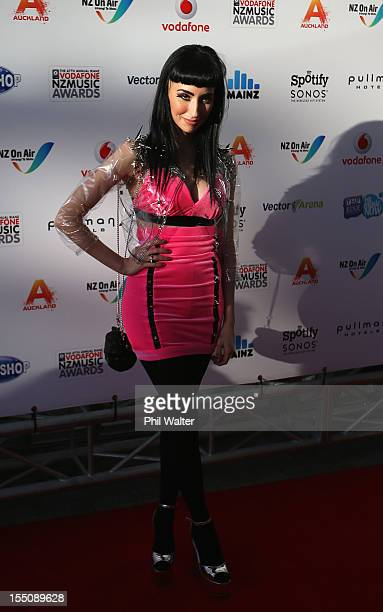 Zowie arrives for the 2012 Vodafone New Zealand Music Awards at Vector Arena on November 1 2012 in Auckland New Zealand