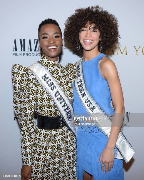 Zozibini Tunzi and Kaliegh Garris attend New York Premiere Of I Am You at Pier 59 Studios on February 6 2020 in New York City