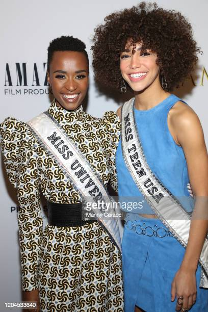 """Zozibini Tunzi and Kaliegh Garris attend the New York Premiere of """"I Am You"""" at Pier 59 Studios on February 06 2020 in New York City"""