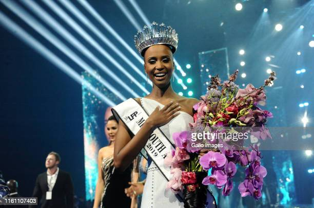 Zozibini Tunzi during the Miss South Africa 2019 beauty pageant grand finale at the Time Square Sun Arena on August 09 2019 in Pretoria South Africa...