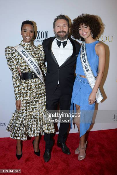 Zozibini Tunzi Hakan Aydin and Kaliegh Garris attend New York Premiere Of I Am You at Pier 59 Studios on February 6 2020 in New York City