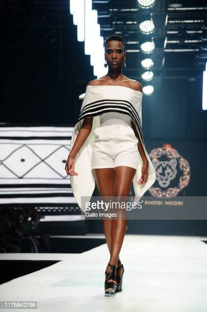 Zozibini Tunzi in Khosi Nkosi Show during Day 3 the Africa Fashion International 2019 Joburg Fashion Week at the Sandton Convention Centre on October...