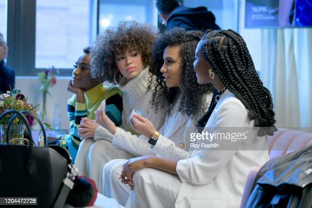 Zozibini Tunzi Kaliegh Garris Chelsie Kryst and Nia Franklin speak at NYFW The Talks during New York Fashion Week The Shows at Spring Studios on...