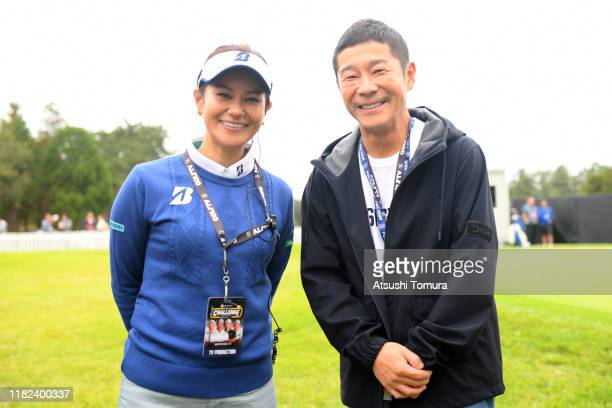 Zozo founder Yusaku Maezawa and Ai Miyazato pose for photographs prior to The Challenge Japan Skins at Accordia Golf Narashino Country Club on...